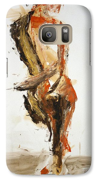 Galaxy Case featuring the painting 04871 Flirtacious by AnneKarin Glass