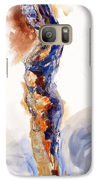 Galaxy Case featuring the painting 04894 Stretch Up by AnneKarin Glass