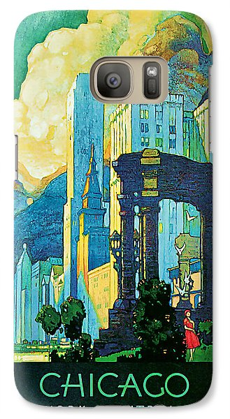 Galaxy Case featuring the mixed media 1929 Chicago - Vintage Travel Art by Presented By American Classic Art