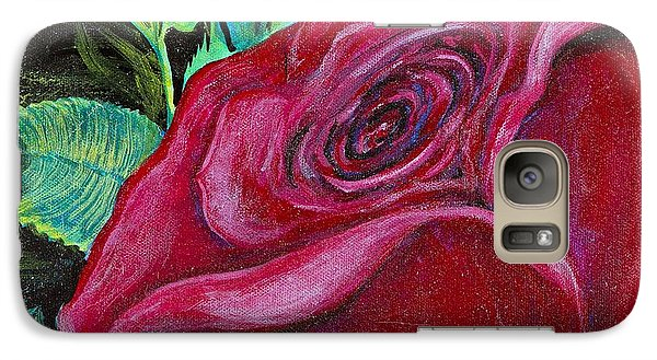 Galaxy Case featuring the painting A Rose For My Lily by Cathy Long