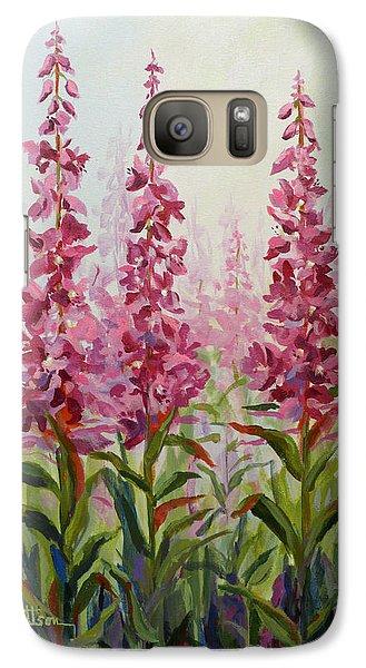 Galaxy Case featuring the painting Alaska Fireweed by Karen Mattson
