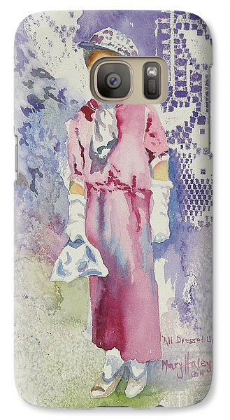 Galaxy Case featuring the painting All Dressed Up by Mary Haley-Rocks