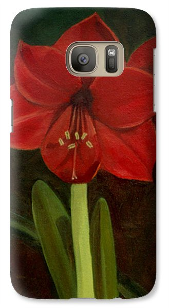 Galaxy Case featuring the painting Amaryllis by Nancy Griswold