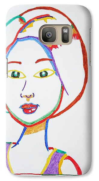 Galaxy Case featuring the painting Anime Asian Girl by Stormm Bradshaw