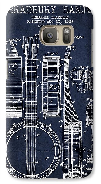 Folk Art Galaxy S7 Case - Banjo Patent Drawing From 1882 - Blue by Aged Pixel