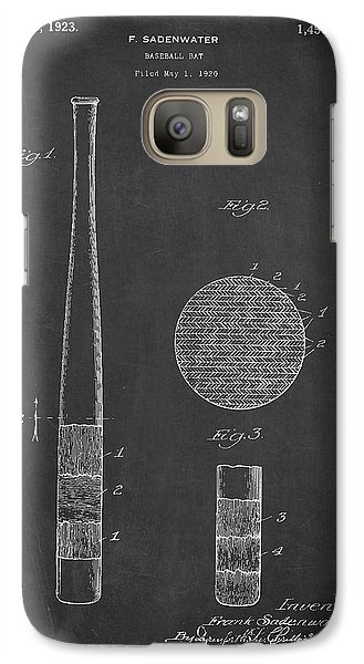 Softball Galaxy S7 Case - Baseball Bat Patent Drawing From 1920 by Aged Pixel