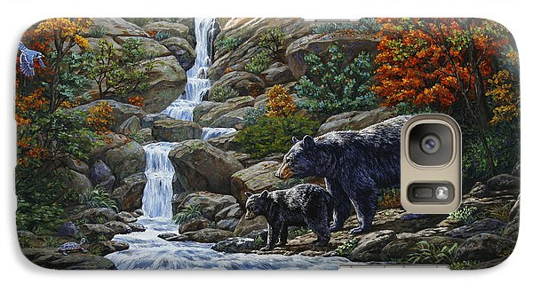 Woodpecker Galaxy S7 Case - Black Bear Falls by Crista Forest