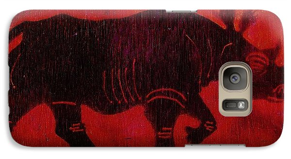 Galaxy Case featuring the pyrography Black Rhino by Larry Campbell