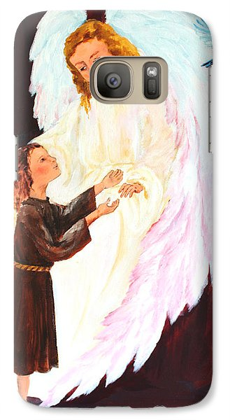 Galaxy Case featuring the painting Blue Bird Of Happiness by Ellen Canfield