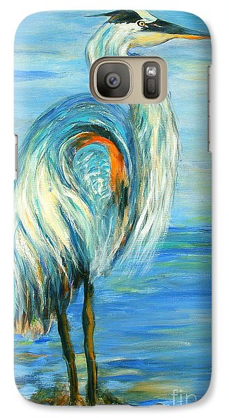 Galaxy Case featuring the painting Blue Heron I by Ellen Anthony