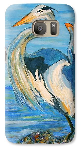 Galaxy Case featuring the painting Blue Heron II by Ellen Anthony