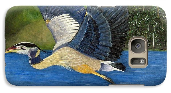 Galaxy Case featuring the painting Blue Heron In Flight by Brenda Brown
