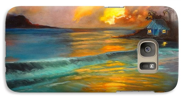 Galaxy Case featuring the painting Blue Sunset by Jenny Lee