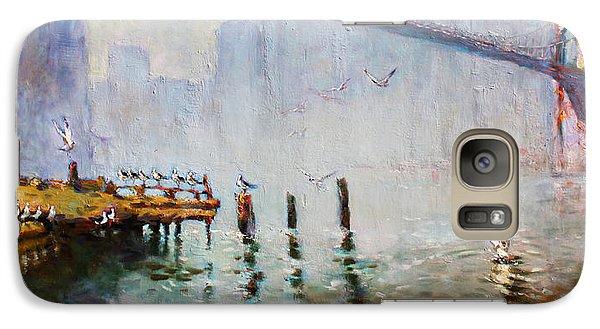Seagull Galaxy S7 Case - Brooklyn Bridge In A Foggy Morning   by Ylli Haruni