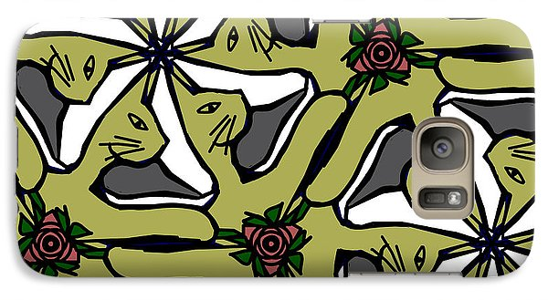 Galaxy Case featuring the digital art Cat / Shoe / Rose by Elizabeth McTaggart