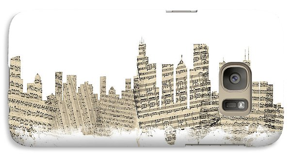 Chicago Illinois Skyline Sheet Music Cityscape Galaxy Case by Michael Tompsett