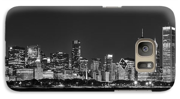Chicago Skyline At Night Black And White Panoramic Galaxy S7 Case by Adam Romanowicz