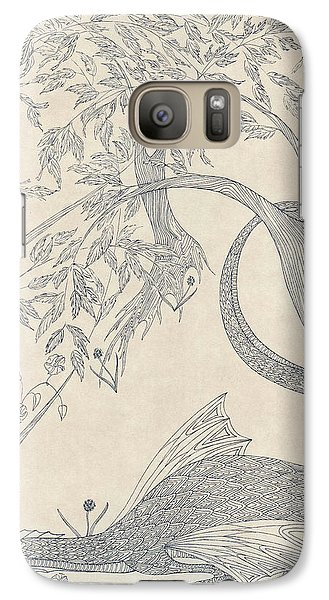 Galaxy Case featuring the drawing China The Dragon by Dianne Levy