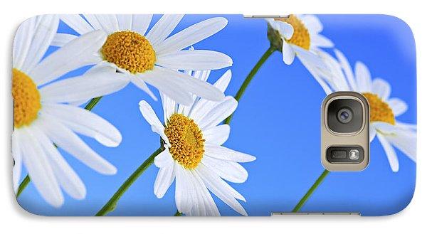 Daisy Galaxy S7 Case - Daisy Flowers On Blue Background by Elena Elisseeva