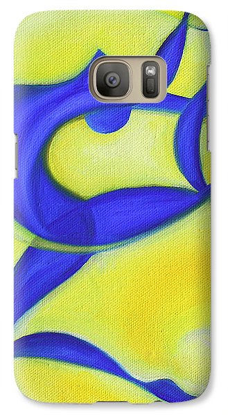 Galaxy Case featuring the painting Dancing Sprite In Yellow And Blue by Tiffany Davis-Rustam