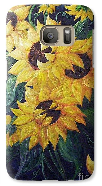 Galaxy Case featuring the painting Dancing Sunflowers  by Eloise Schneider
