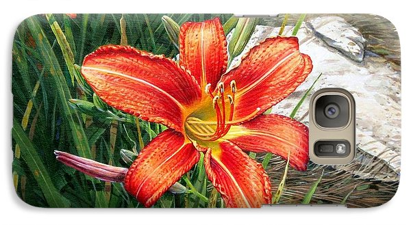 Galaxy Case featuring the painting Day Lily by Bob  George