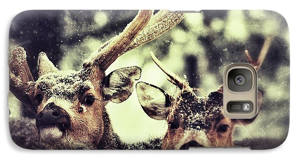 Galaxy Case featuring the photograph Deer In The Snow by Nick  Biemans
