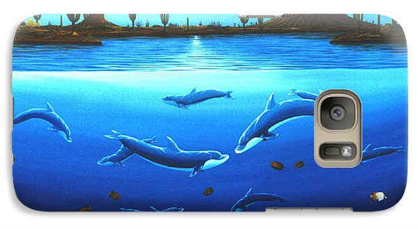 Galaxy Case featuring the painting Desert Dolphins by Lance Headlee