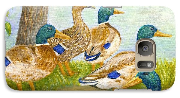 Galaxy Case featuring the painting Diva Duck And The Mallards by Jeanne Kay Juhos
