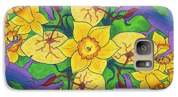 Galaxy Case featuring the drawing Dragondala Spring by Mary J Winters-Meyer