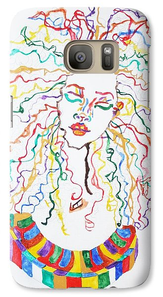 Galaxy Case featuring the painting Dreadlocks Piano Goddess by Stormm Bradshaw