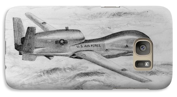 Galaxy Case featuring the drawing Drone Rq-4 Global Hawk by Jim Hubbard