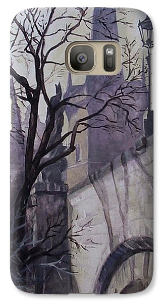 Galaxy Case featuring the painting Dusk At The Charles Bridge by Marina Gnetetsky