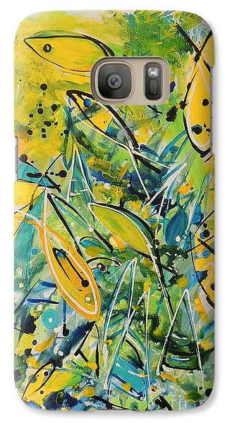Galaxy Case featuring the painting Fish Frenzy by Lyn Olsen