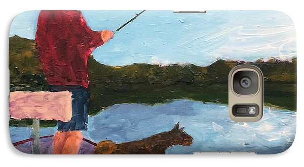 Galaxy Case featuring the painting Fishing by Donald J Ryker III