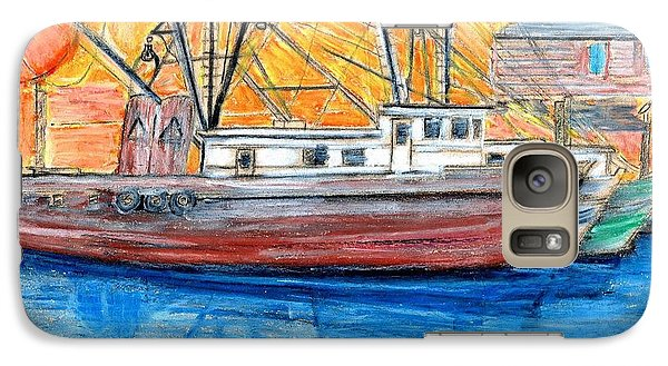 Galaxy Case featuring the drawing Fishing Trawler by Eric  Schiabor