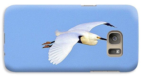 Florida, Venice, Snowy Egret Flying Galaxy Case by Bernard Friel