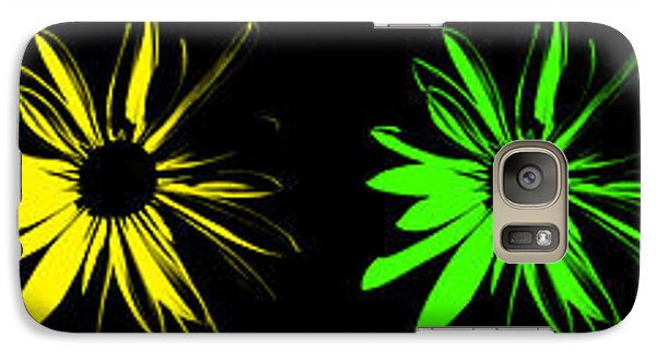 Galaxy Case featuring the digital art Flowers On Black by Maggy Marsh