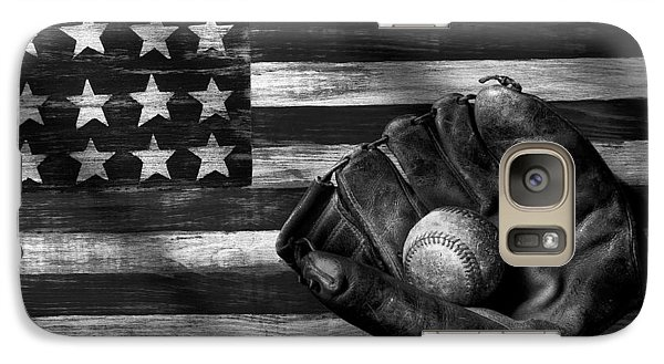 Baseball Galaxy S7 Case - Folk Art American Flag And Baseball Mitt Black And White by Garry Gay