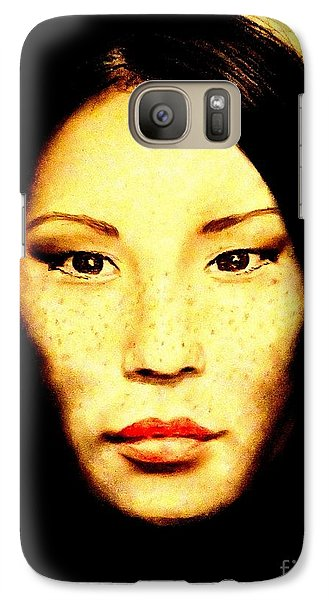 Galaxy Case featuring the pastel Freckle Faced Beauty Lucy Liu  by Jim Fitzpatrick