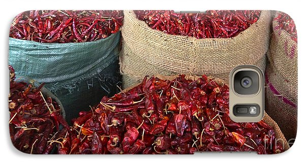 Galaxy Case featuring the photograph Fresh Dried Chilli On Display For Sale Zay Cho Street Market 27th Street Mandalay Burma by Ralph A  Ledergerber-Photography