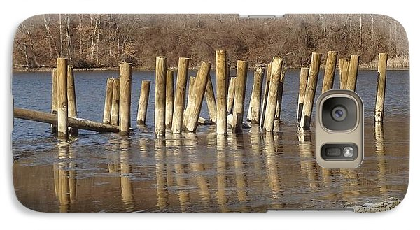 Galaxy Case featuring the photograph Frozen Pilings by Michael Porchik