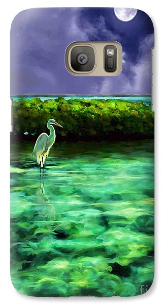 Galaxy Case featuring the painting Full Moon Fishing by David  Van Hulst