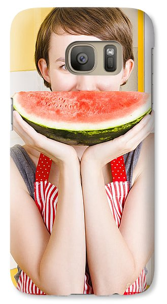 Funny Woman With Juicy Fruit Smile Galaxy S7 Case by Jorgo Photography - Wall Art Gallery