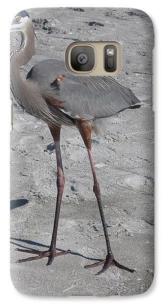 Galaxy Case featuring the photograph Great Blue Heron On The Beach by Christiane Schulze Art And Photography