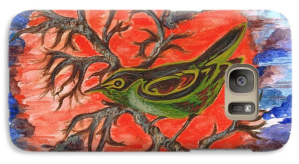 Galaxy Case featuring the painting Green Warbler by Teresa White