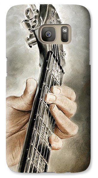 Galaxy Case featuring the drawing Guitarist's Point Of View by Glenn Beasley