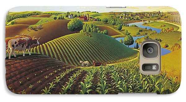 Galaxy Case featuring the painting Harvest Panorama  by Robin Moline