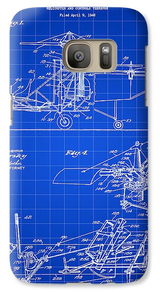 Helicopter Galaxy S7 Case - Helicopter Patent 1940 - Blue by Stephen Younts