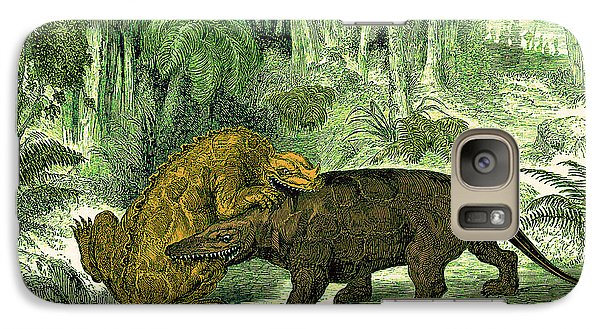 Galaxy Case featuring the photograph Iguanodon Biting Megalosaurus by Wellcome Images